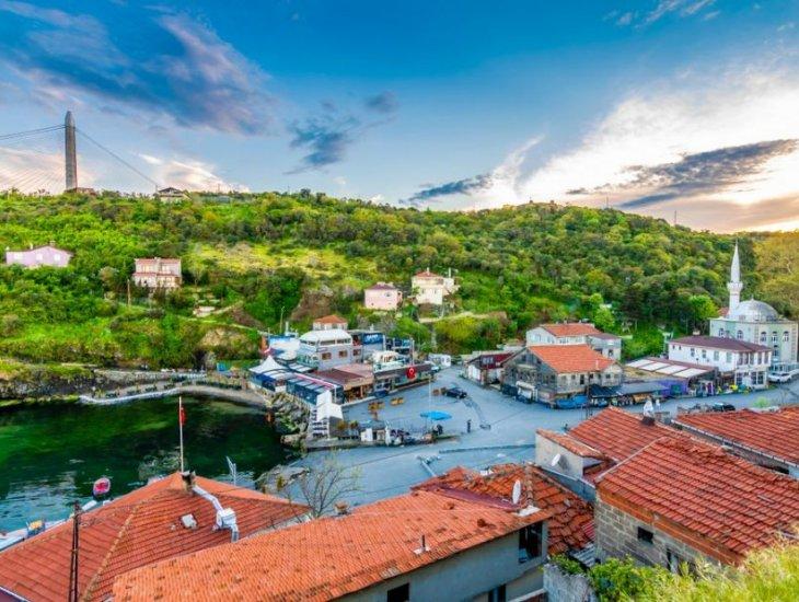 伊斯坦布尔的博斯普鲁斯海峡村庄参观